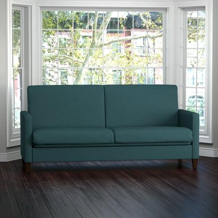 Handy Living Samuel Caribbean Blue Linen Convert A Couch Futon