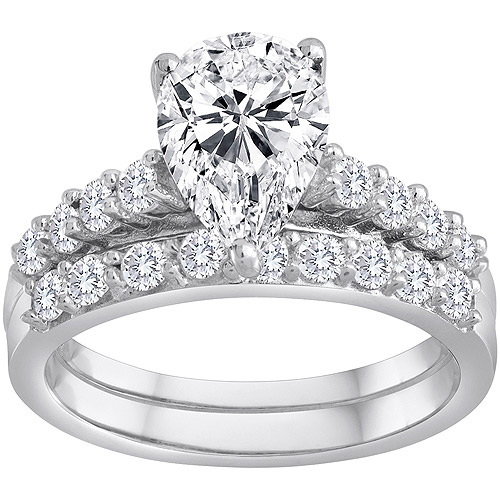 Pure Perfection Certified Bridal Ring with Pear-Shaped Center Stone Made with Swarovski Zirconia