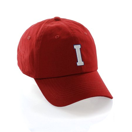 Custom Dad Hat A-Z Initial Raised Letters Classic Baseball Cap - Red Hat with Blue White Letter