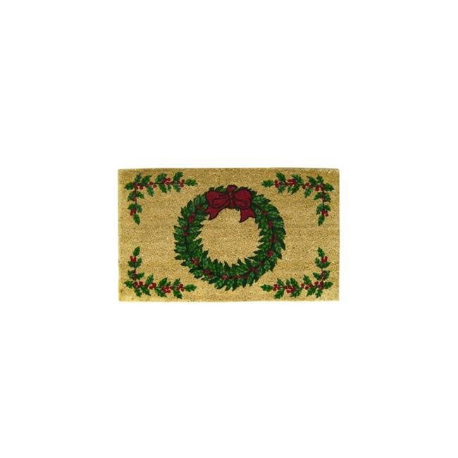 Geo Crafts G160 WREATH W-BERRIES 18 x 30 in. PVC Backed Holiday Border Doormat