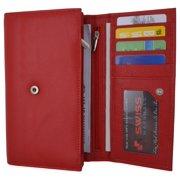 Women RFID Blocking Real Leather Wallet - Clutch Checkbook Wallet for Women