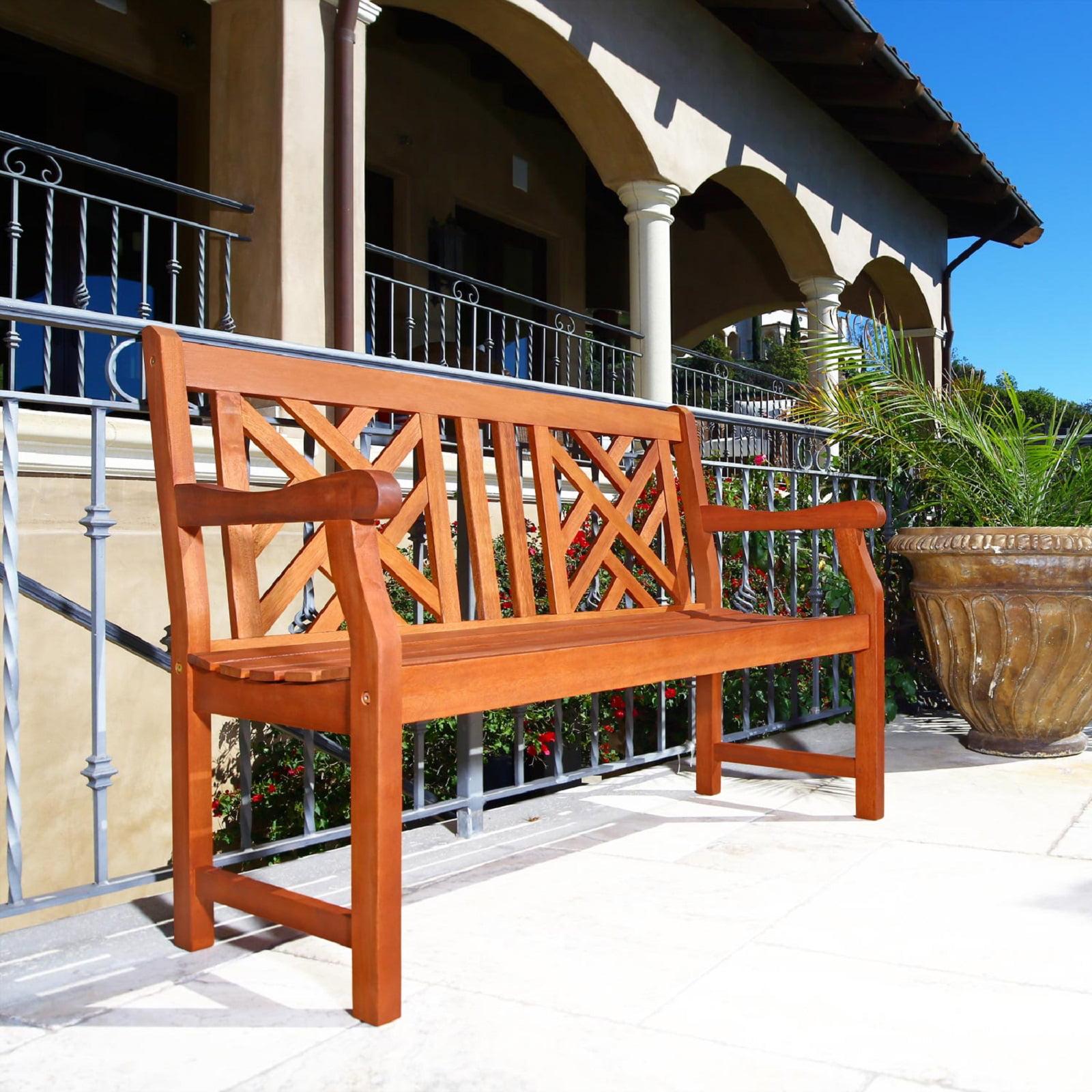 Malibu Outdoor Patio 4-foot Wood Garden Bench