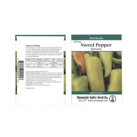 Sweet Banana Pepper Seeds - 300 mg Packet - Non-GMO, Heirloom - Pointed Yellow Banana Peppers - Vegetable Garden Seed