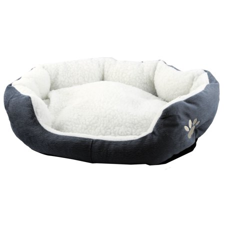 Dimple Plush Nesting Bed (Pet Cat Plush Oval Shape Removable Cushion Nesting Dog Bed Cave Gray 50cm x 40cm )