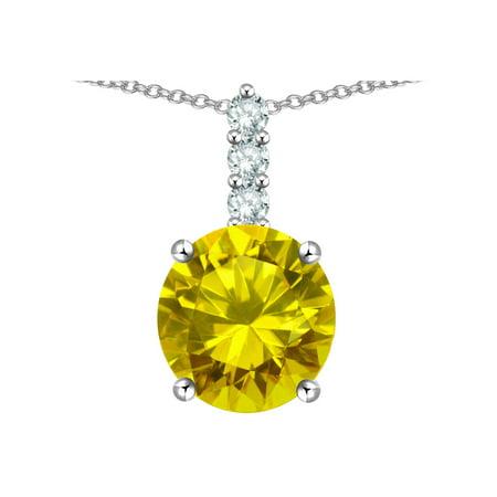 - Star K 7mm Round Genuine Citrine Three Stone Pendant Necklace in 14 kt White Gold