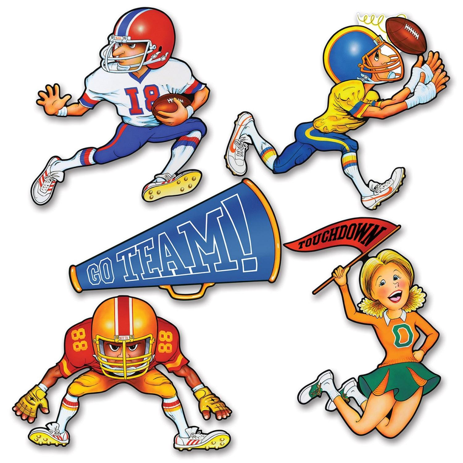 Club Pack of 24 Multi-Colored Football Player Sports Themed Cutout Party Decorations 19.5""