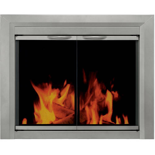 Pleasant Hearth Nickel Cabinet Style Fireplace Glass Door, Coronet Sunlight, CO-3300