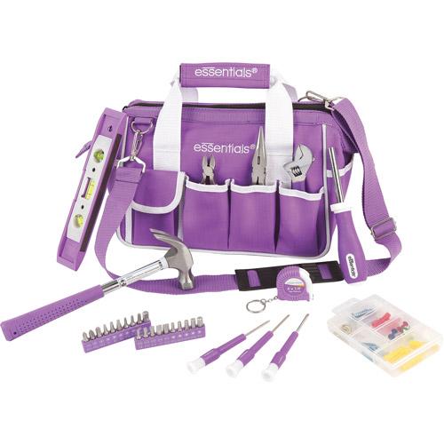 Essentials Tool Set with Zip-Up Bag, 32-Piece, Purple/White