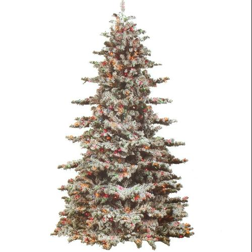 9' Heavily Flocked Snow Drift Pre-Lit Artificial Christmas Tree - Clear Lights