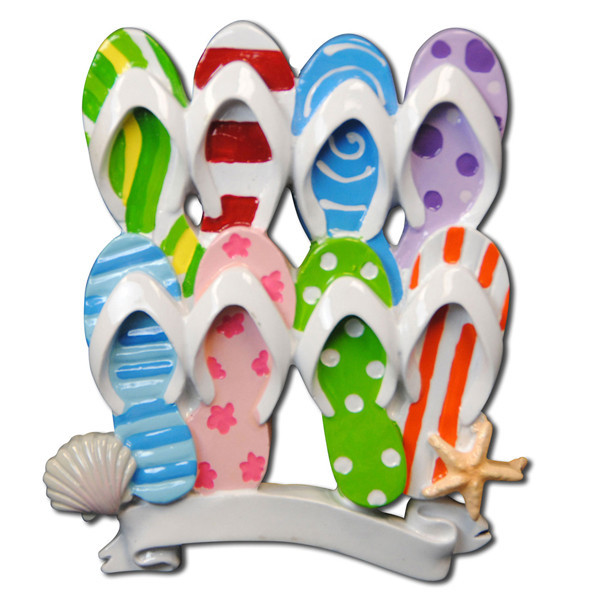 Flip Flop Travel Beach Family of 8 Personalized Christmas Ornament DO-IT-YOURSELF