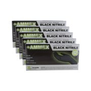 Ammex ABNPF48100 5 Pack Black Nitrile Glove Latex Free & Powder Free Extra Large