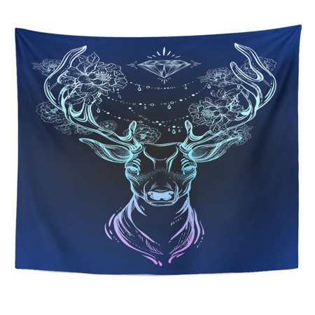 REFRED Beautiful Tribal Deer on Dark Head Decorated with Peony Flowers and Diamond Beads Spiritual Yoga Boho Wall Art Hanging Tapestry Home Decor for Living Room Bedroom Dorm 51x60 (Best Decorated Dorm Rooms)