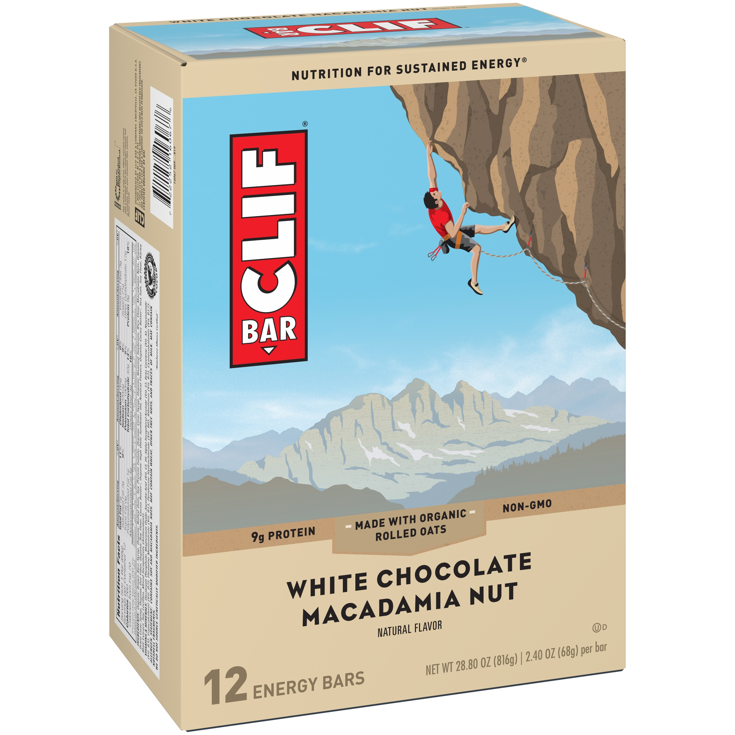 Clif Energy Bar, White Chocolate Macadamia Nut, 9g Protein, 12 Ct