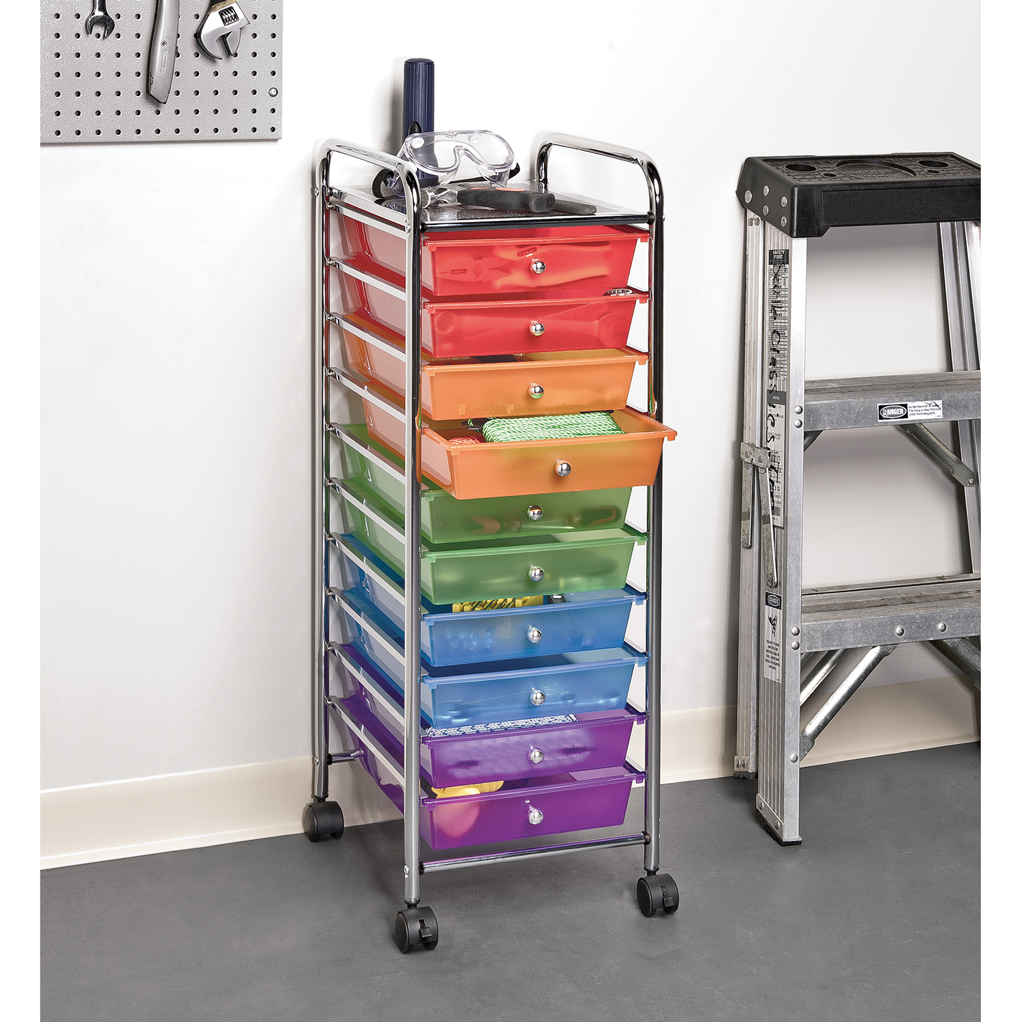 Perfect 10 Drawer Organizer Cart W/ Wheels, Pearl Multi Color By Seville Classics    Walmart.com