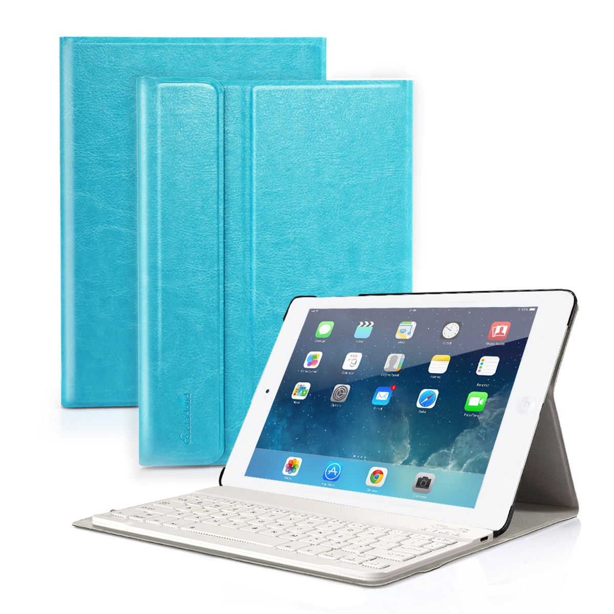 "New 2017 iPad 9.7"", iPad Pro 9.7, iPad Air 1 Air 2 Keyboard Case - Detachable Bluetooth Keyboard with Anti-Slip Slim Leather Folio Case Cover for Apple iPad 5th Tablet (9.7"", Sky Blue)"