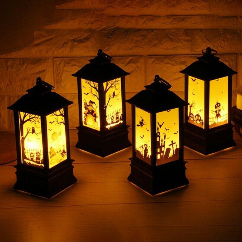 Halloween Vintage Lantern Party Hanging Decor LED Light Lamp Decor Nightlight