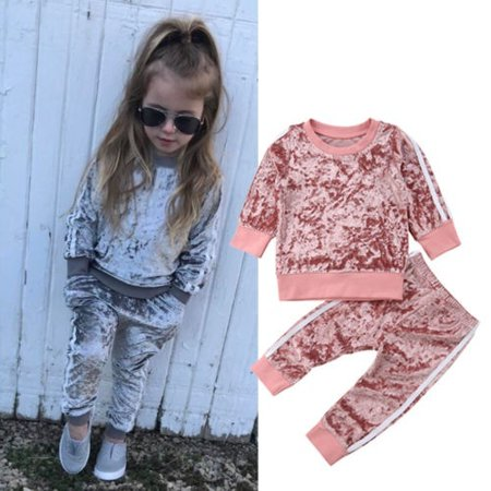 Suit Outfits (2PCS Toddler Kids Baby Girl Infant Clothes T-shirt Top Pants Outfit Sets)