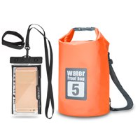 5L / 10L / 15L / 20L Outdoor Waterproof Dry Backpack Roll-top Bag with 6.3'' Waterproof Phone Case for Kayaking Rafting Boating River Trekking