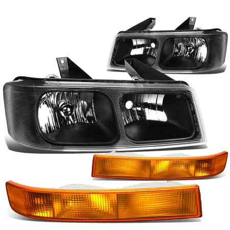 For 2003 to 2017 Chevy Express / GMC Savana 1500 2500 3500 Black Housing Headlight + Amber Bumper Lamp 04 05 06 07 08 09 10 11 12 13 14 15 16 1997 Chevy Express 2500 Van