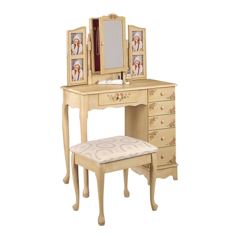 Coaster Furniture Hand Painted Wood Makeup Vanity Table S...