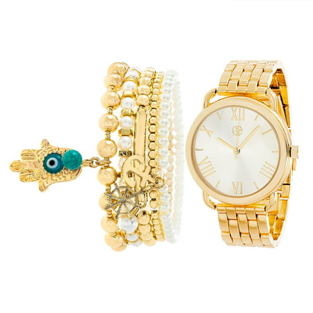 Women's Quartz Bracelet Watch w/ 3 Beaded Bracelets
