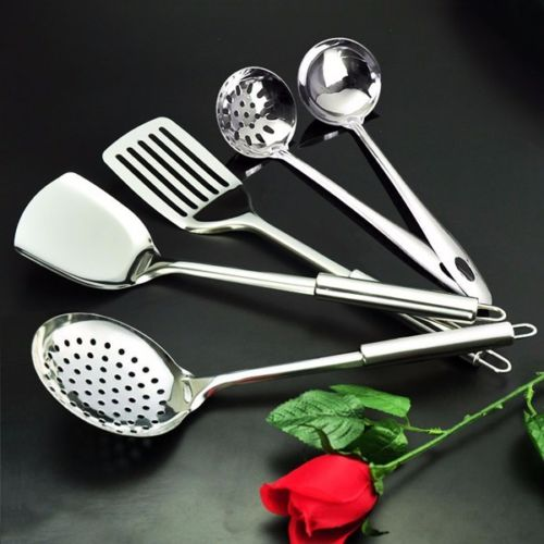 Home Kitchen Utensils 5-Piece Set of Classic Designed Cooking Accessories Made of Top Quality Stainless Steel, Mirror Finish Polishing, Cooking Spoon Tools Skimmer Ladle