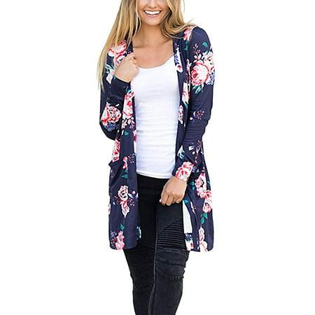 Women's Floral Kimono Boyfriend Cardigan Open Front Fall Sweaters S-XXL