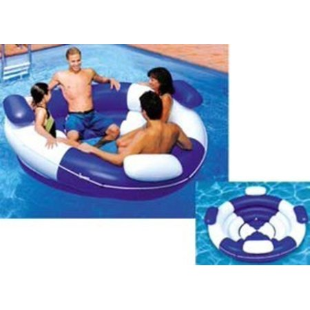 "84"" Water Sports Inflatable Blue and White Sofa Island Swimming Pool Lounger"