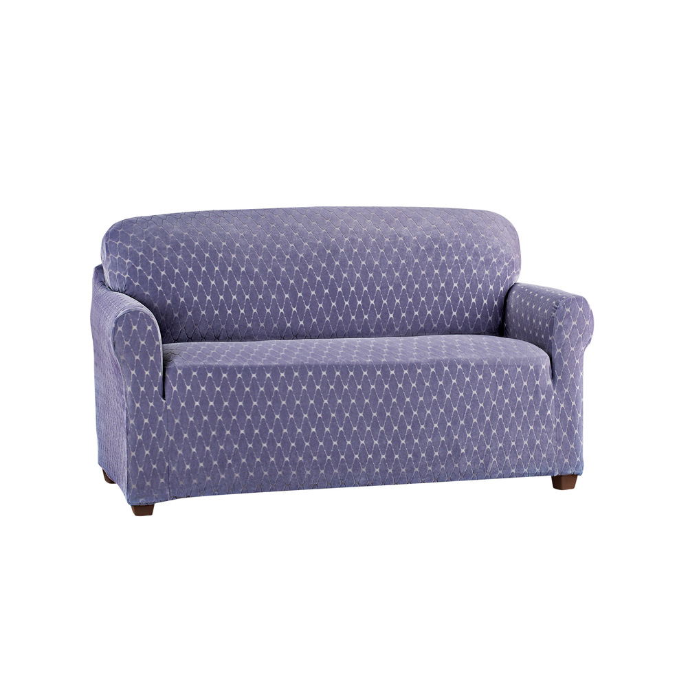 Diamond Stretch Stain Resistant Slipcover, Furniture Cover Protector, Loveseat, Grape