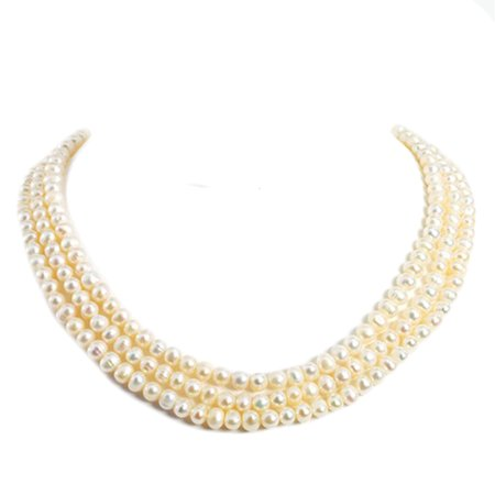 Sterling Silver Triple Strand White FWC Pearl Necklace 19