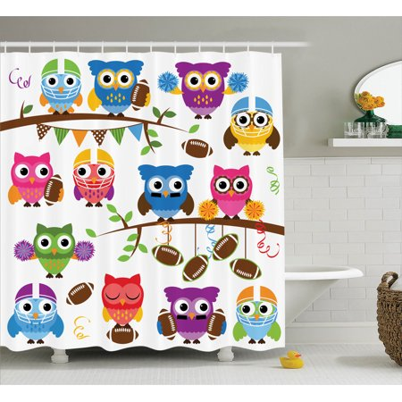 Owls Home Decor Shower Curtain Set Sporty Owls Cheerleader League Team Helmet Coach Football Sports