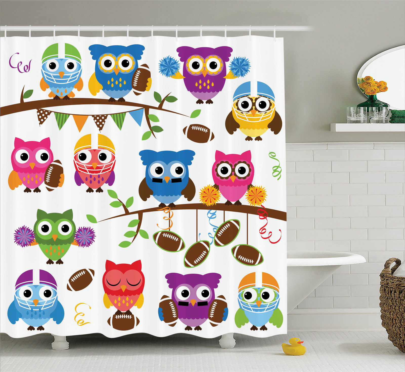 Owls Home Decor Shower Curtain Set, Sporty Owls Cheerleader League Team Helmet Coach Football Sports Themed Art, Bathroom Accessories, 69W X 70L Inches, By Ambesonne