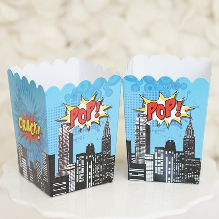 Superhero Popcorn Favor Boxes Batman Superman Theme Black & Blue Gift Boxes - Set of 10 for $<!---->