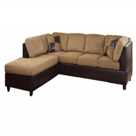 Enjoyable Homelegance 9909Br Comfort Living Sectional Collection With 2 Pillows Brown Rhino Microfiber And Dark Brown Faux Leather Machost Co Dining Chair Design Ideas Machostcouk