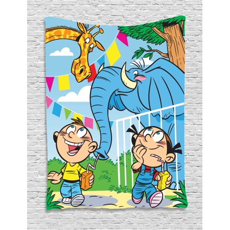 Baby Tapestry, Children with Mischievous Elephant Giraffe Pranks Juice Zoo Theme Brother and Sister, Wall Hanging for Bedroom Living Room Dorm Decor, 40W X 60L Inches, Multicolor, by