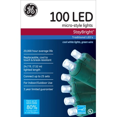 Ge Staybright Micro Style Led Christmas Lights Cool White