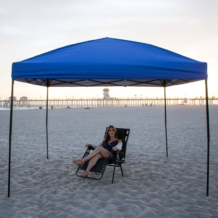 Ollieroo 10 x 10-Feet Outdoor Pop Up Portable Shade Instant Folding Canopy & Carrying Bag, Blue