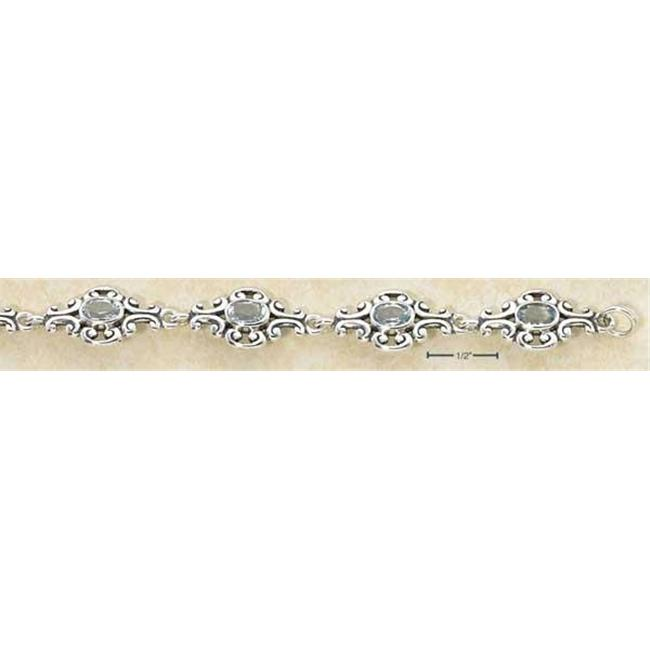 Sterling Silver 7 Inch Scrolled Designer Links with Oval Blue Topaz Stones Bracelet by Plum Island Silver