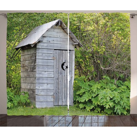 Outhouse Curtains 2 Panels Set, Vintage Farm Life Cottage Barn Shed in Forest Trees Leaves Picture, Window Drapes for Living Room Bedroom, 108W X 96L Inches, Pale Grey and Fern - Vintage Cottage