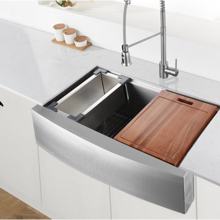 Ruvati Verona Workstation 33 L X 22 W Double Basin Farmhouse Kitchen Sink