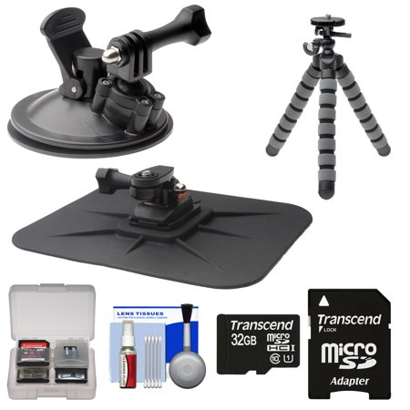 Essentials Bundle for Replay XD 1080 Mini & Prime X Action Video Camera Camcorder with Car Suction Cup & Dashboard Mounts + 32GB Card + Flex Tripod + Kit