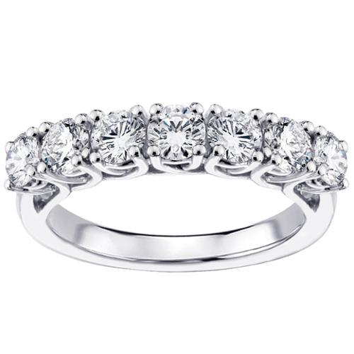 14k White Gold and Platinum 1.50ct TDW Braided 7-Diamond Wedding Band (F-G, SI1-SI2) Platinum - Size 7