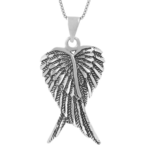 Brinley Co. Sterling Silver Angel Wings Pendant, 18""