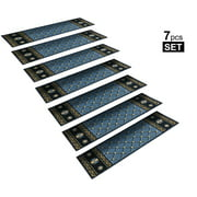 "StepBasic Non-Slip Stair Mat Rubber Backing Resistant Carpet Stair Treads Gripper Mats Set of 7 - Blue ( 8.5"" x 26"" )"