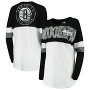 Brooklyn Nets New Era Women's Baby Jersey Contrast Long Sleeve Crew Neck T-Shirt - White/Black