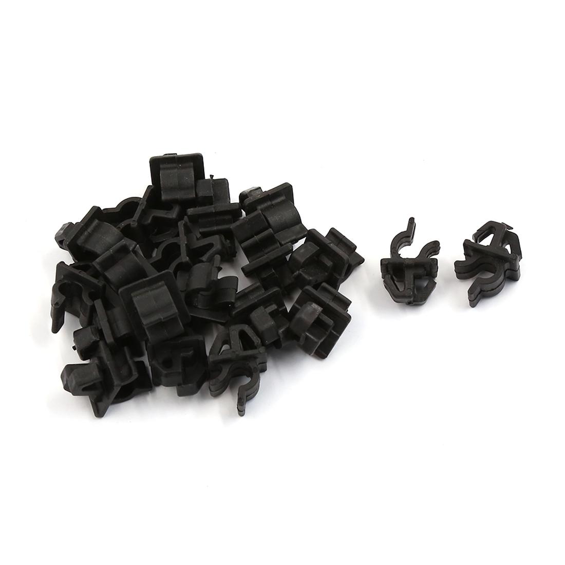 Unique Bargains 20 Pcs Black Plastic Engine Bracket Fastener Mat Rivet Clips