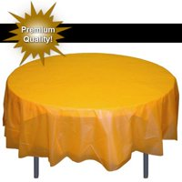 Exquisite 12 Pack 84 Round Tablecloth Covers Bulk - White Disposable Plastic Tablecloths - Heavy Duty Premium Plastic Disposable Table Cloths Round
