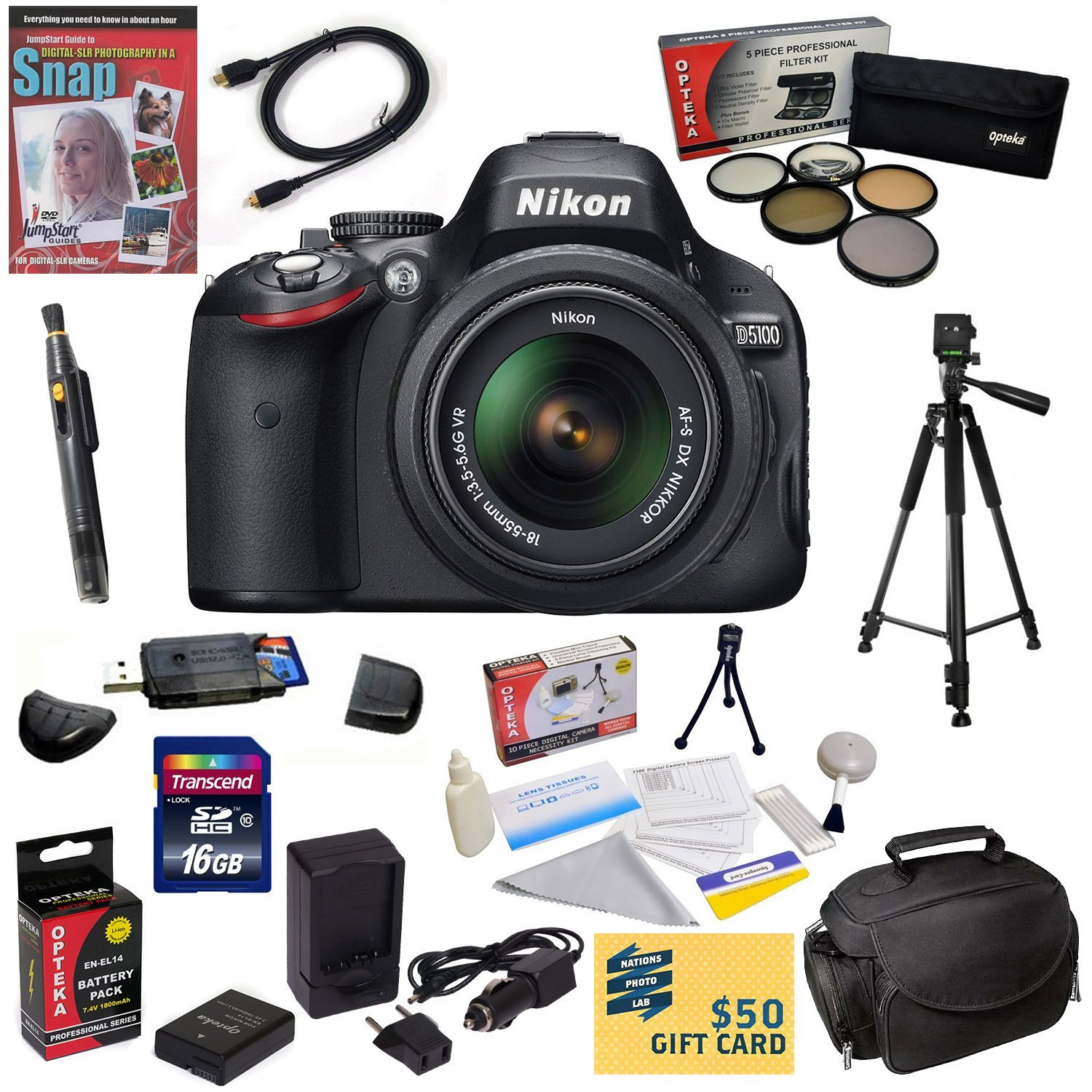 Nikon D5100 Digital SLR Camera with 18-55mm NIKKOR VR Lens with16GB High-Speed SDHC Card, Reader, Extra Battery, Charger, 5 PC Filter, HDMI Cable, Case, Tripod, Cleaning Kit, DVD, $50 Gift Card, More