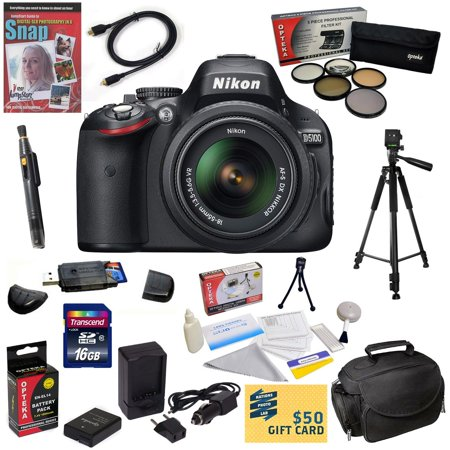 Nikon D5100 Digital SLR Camera with 18-55mm NIKKOR VR Lens with16GB High-Speed SDHC Card, Reader, Extra Battery, Charger, 5 PC Filter, HDMI Cable, Case, Tripod, Cleaning Kit, DVD, $50 Gift Card, More ()