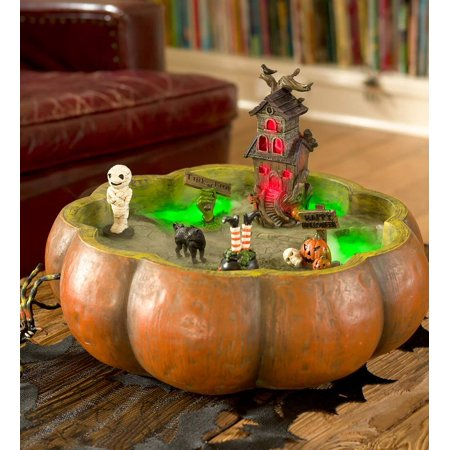 Large Scary Resin Halloween Pumpkin Bowl, 16
